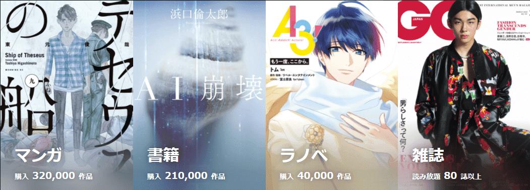 U-NEXT 電子書籍 内訳